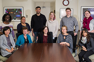BETTR program participants (clockwise from rear left): Program scholars, Drs. Francine Morris, Esther Peterson, Javier Suarez, Kessler McCoy-Simandle, Brett Hirsch, Katharine Bee and Punita Bhansali; program coordinator at Lehman, Dr. Liesl Jones; program co-principal investigators, Drs. Dianne Cox and Barbara Birshtein; scholar Dr. Na Xu. (Not pictured, program scholar Dr. Christopher Blackwood and program coordinator at Hostos, Dr. Nelson Núñez-Rodríguez.)