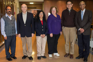 Members of the Marion Bessin Liver Research Center (from left): Drs. Jayanta Roy-Chowdhury, David Shafritz, Namita Roy-Chowdhury, Leslie Rogler, Liang Zhu and Sanjeev Gupta