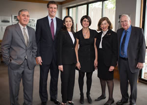 Einstein's Dean Allen M. Spiegel, M.D., with members of the Ullmann family (from left) Steven Schneider, Nancy Ullmann-Schneider, Nicole Ullmann, Lucia Ullmann and family friend Bill Mazo